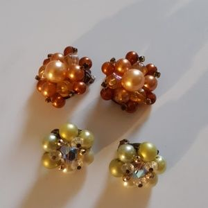 Multi colored pearl clip ons 2 pair